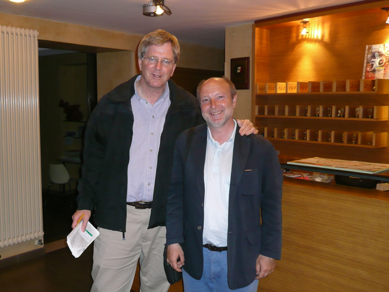 Gabriele with America's leading authority on European travel, guidebook author   and travel television host, Rick Steves