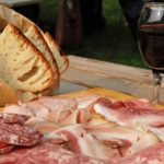Wine, bread, ham