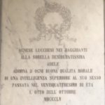 The tombstone dedicated to Adele in the cloister of the convent of the Church of San Francesco